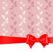 Pink background red bow — Stock Vector