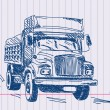 Stockvector : Hand drawing lorry