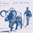 Hand drawn yak and man Vector - Stock Vector