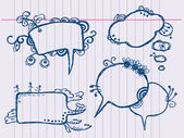 Bolha de discurso e pensamento de mão desenhada — Vetor de Stock