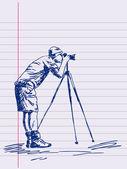 Hand drawn photographer Vector — Stock Vector