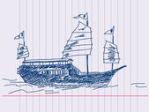 Chinese sailing ship Hand drawn — Stockvector