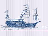 Chino vela barco dibujado a mano — Vector de stock
