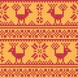 Cross stitch flower and deer ornament seamless background — Stock Vector #25383333