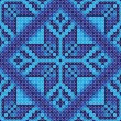 Cross stitch blue flower ornament seamless background — Stock Vector
