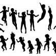 Jumping children silhouette - Stock Vector