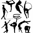 Gymnastic silhouette - Stock Vector