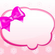 Message card with pink bow — Stock Vector