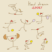 Set of Hand Drawn Sport — Stock Vector