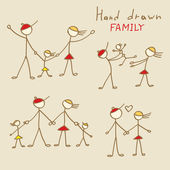Set of Hand Drawn Family — Stock Vector