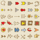 Set of Hand Drawn Arrows — Stockvector