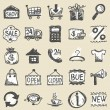 Stock Vector: Hand drawn shopping icons