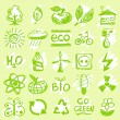 Hand drawn eco icons — Stock Vector