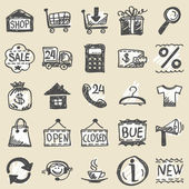 Hand drawn shopping icons — Stockvector