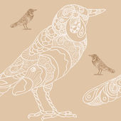 Hand drawn seamless background bird — Stock Vector