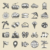 Hand drawn travel icons — Stock Vector