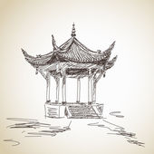 Hand drawn chinese pavilion — Stockvector