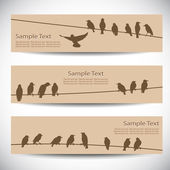 Set of banners with birds on wires — Stockvector