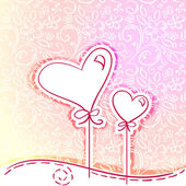 Sketch of two hearts with romantic flower background — Vector de stock