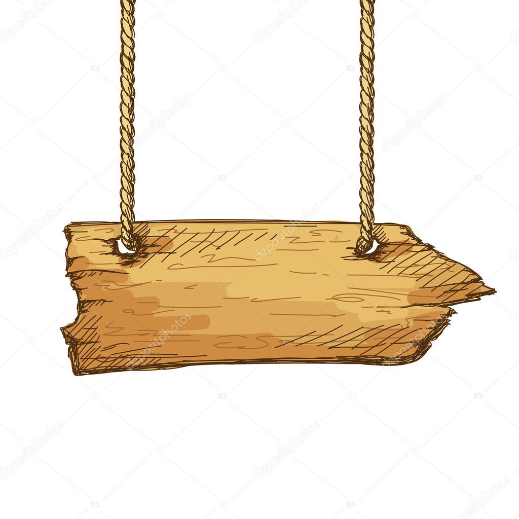 Brown Wooden Board With Rope: Hand Drawn Wooden Board Pointer Sign Hanging On Rope