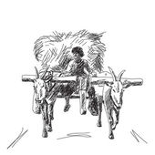 Cow carries a cart with farmer Hand drawn — Stockvektor