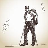 トレッキングの男 — ストックベクタ
