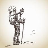 Man trekking with backpack — Stock Vector