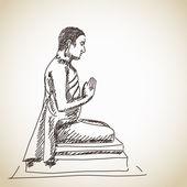 Buddhastatue Meditation — Stockvektor