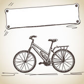 Bicycle with banner — Stock Vector