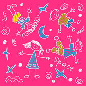 Hand drawn kids in space — Stock Vector