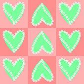 Fondo de corazón y flor — Vector de stock