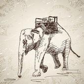 слон с стулом — Cтоковый вектор