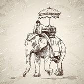 слон с человеком — Cтоковый вектор