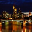 Night View of Frankfurt. Frankfurt Skyline at Night with Reflection in the — Stock Photo