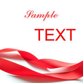 Red Silk Ribbon Isolated on the White Background. Gift Card Back — Stock Photo