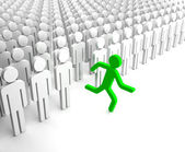 Green Human Figure Running from the Crowd of Gray Indifferent Humans — Stock Photo