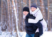 Young Beautiful Couple Taking Fun and Smiling Outdoors in Winter — Stock Photo