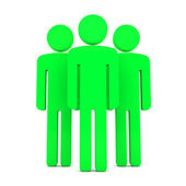 Teem of Three Green Human Figures Standing Together on the White — Stock Photo