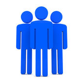 Teem of Three Blue Human Figures Standing Together on the White — Stock Photo