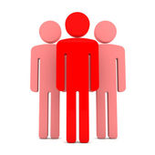 Teem of Three Red Human Figures Standing Together on the White — Stock Photo