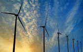 Wind Generator Turbines on Sunset — Stock Photo
