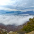 Panorama of Beautiful Mountain Landscape with Low Clouds — Stock Photo