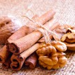 Walnuts and Cinnamon on Burlap Background — Stock Photo #22368565