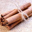 Cinnamon Sticks on Burlap Background — Stock Photo #22369025