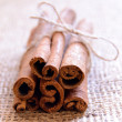 Cinnamon Sticks on Burlap Background — Stock Photo