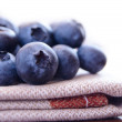 Stock Photo: Closeup Image of Blueberries on Fabric Serviette
