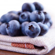 Closeup Image of Blueberries on the Fabric Serviette — Stock Photo