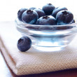 Heap of Blueberries in the Glass Bowl — Stock Photo