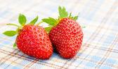 テーブル クロスに新鮮な甘いイチゴ — ストック写真