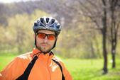 Portrait of Young Cyclist in Helmet — Stockfoto